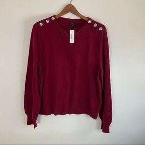 NWT J. Crew Embellished Burgundy Sweater w/ Puff Sleeves